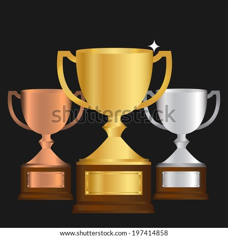 Vector of Gold Silver and bronze Trophy