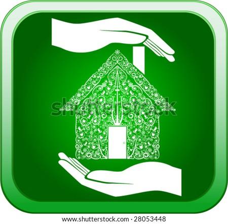 Vector of green home in open hands - stock vector