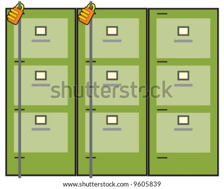 vector of green three-drawer filing cabinets, 2 locked and one unlocked - stock vector