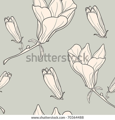 Vector of grey seamless pattern with magnolias - stock vector