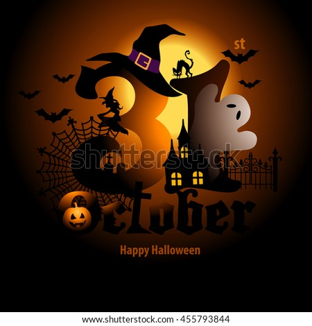 Vector of Halloween icon on Halloween day number,