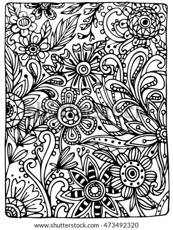 Vector of hand draw Flower pattern. Vector doodle flowers in black and white