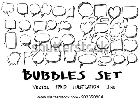 Vector of Hand Drawn Doodle Style Speech Bubbles