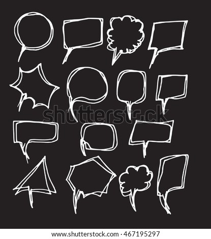 Vector of Hand Drawn Doodle Style Speech Bubbles chalkboard