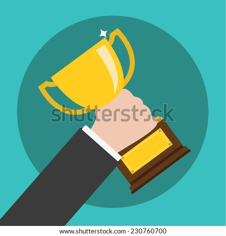 Vector of Hand Holding a Trophy ,winning in business - stock vector