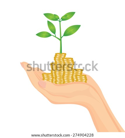 Vector of Hand holding money tree for business concept - stock vector