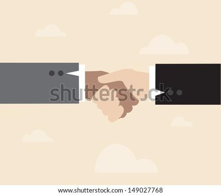 Vector of Handshake, against the background of retro sky - stock vector