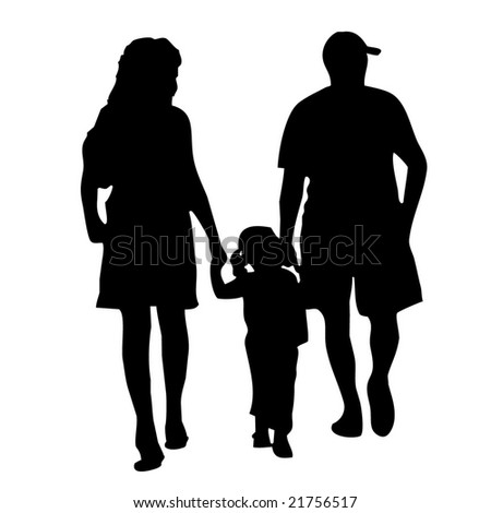 vector of happy family walking together - stock vector