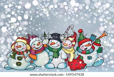 Vector of happy snowmen on snowfall background. - stock vector