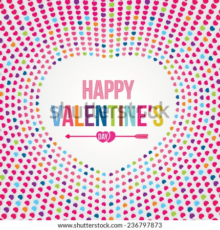 Vector of Happy Valentine's Day card with colorful heart design.