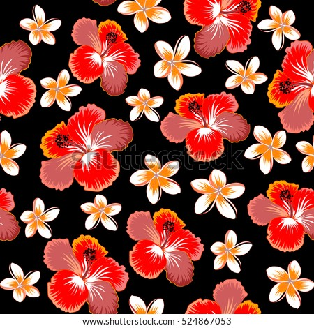 Vector Of Hawaiian Aloha Shirt Design In Red Pink And Orange Colors On A Black