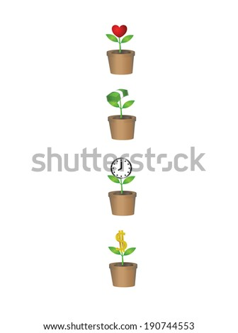 Vector of Heart,money,time,dollar plant