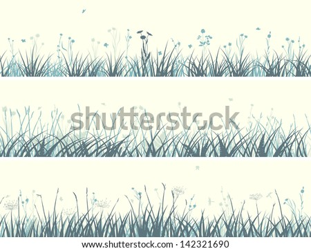 Vector of horizontal banners abstract meadow grass with flowers in pale yellow green.