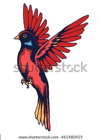 Vector Of Hummingbird Vintage Tattoo Design Elements