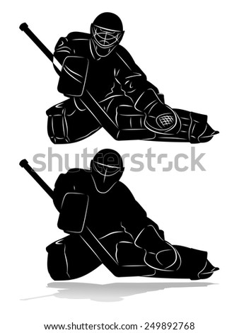 vector of ice hockey goalie silhouette, winter sports - stock vector