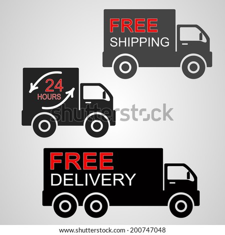 Vector of icons shipments and free delivery. - stock vector