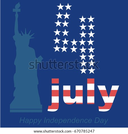 vector of Independence day card with statue of Liberty