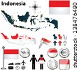 Vector of Indonesia set with detailed country shape with region borders, flags and icons - stock vector
