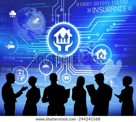Vector of insurance themed background with silhouettes of business people. - stock vector