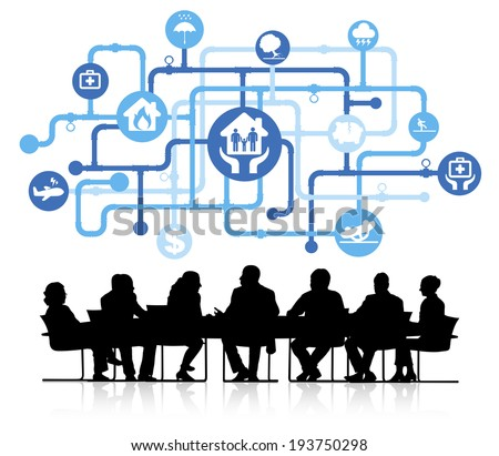 Vector of insurance themed background with silhouettes of business people sitting around the conference table. - stock vector