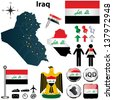 Vector of Iraq set with detailed country shape with region borders, flags and icons - stock photo