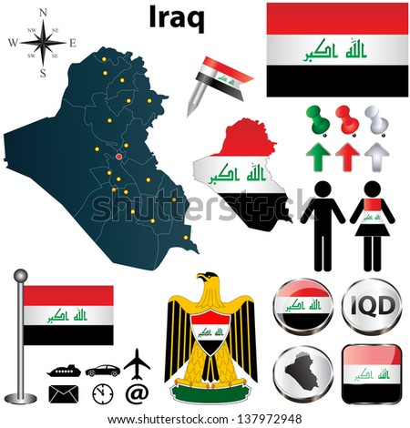 Vector of Iraq set with detailed country shape with region borders, flags and icons - stock vector