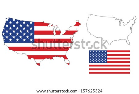 vector of isolated us map with the flag - stock vector