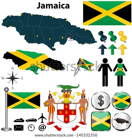 Vector of Jamaica set with detailed country shape with region borders, flags and icons - stock vector