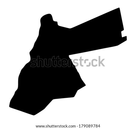 Vector of Jordan map silhouette isolated on white background. - stock vector