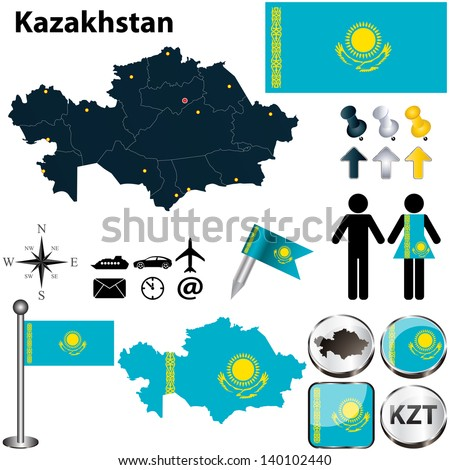 Vector of Kazakhstan set with detailed country shape with region borders, flags and icons - stock vector