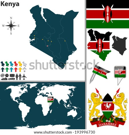 Vector of Kenya set with detailed country shape with region borders, flags and icons - stock vector