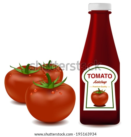 Vector of ketchup and Tomato in white isolated