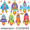 Vector of Kids inside Spaceship, Spacecraft, Rocket. A set of cute and colorful icon collection isolated on white background - stock photo