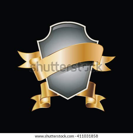 vector of labels with gold elements. - stock vector