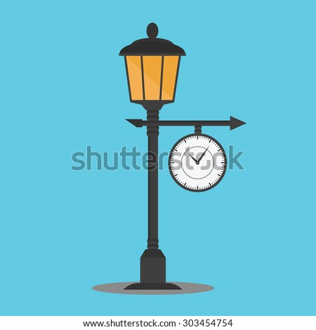 Vector of lamppost with clock - stock vector