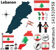 Vector of Lebanon set with detailed country shape with region borders, flags and icons - stock vector