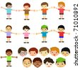 Vector of Little Boys, man men, Kids, male theme. A set of cute and colorful icon collection isolated on white background - stock vector