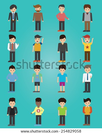Vector of man characters poses - stock vector