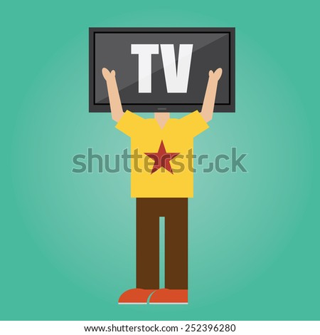 Vector of man with TV head .concept - stock vector