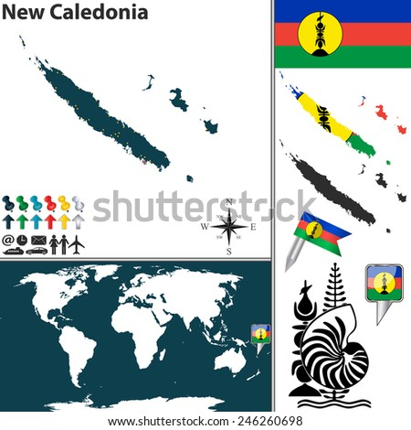 Vector of map of New Caledonia set with flags and icons