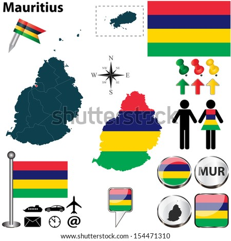 Vector of Mauritius set with detailed country shape with region borders, flags and icons