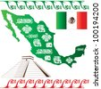 Vector of Mexican map with flag and mayan pattern isolated on white background - stock vector