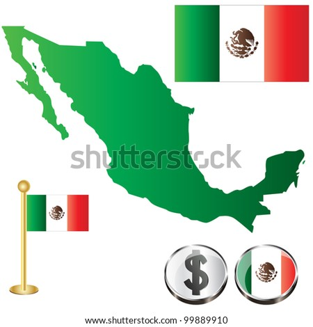 Vector of Mexico map with flags and icons isolated on white background - stock vector