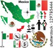 Vector of Mexico map with regions on white - stock photo