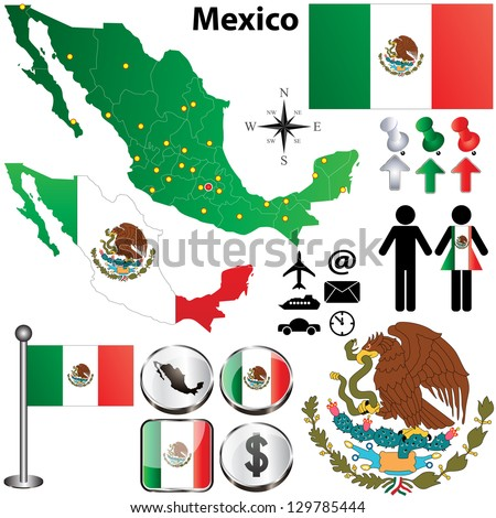 Vector of Mexico map with regions on white - stock vector