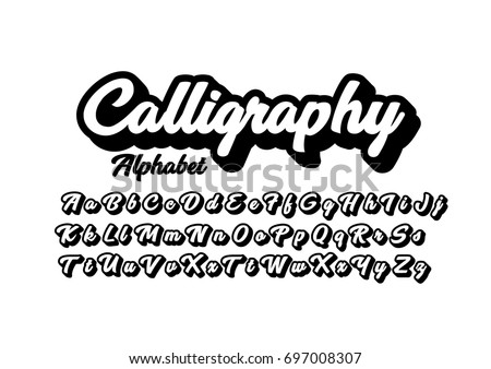 Vector of modern calligraphic font and alphabet