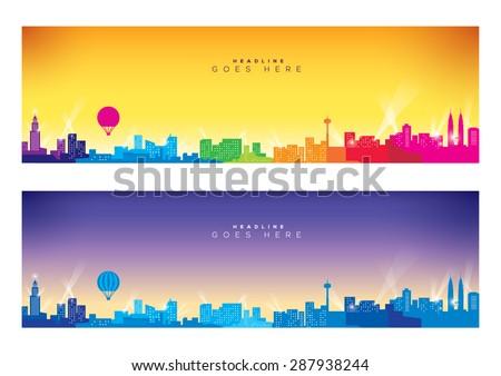 Vector of modern city skyline - stock vector