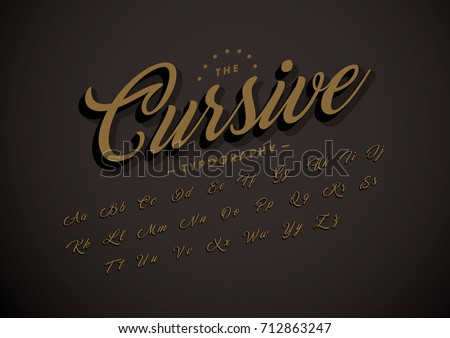 Vector of modern cursive font and alphabet