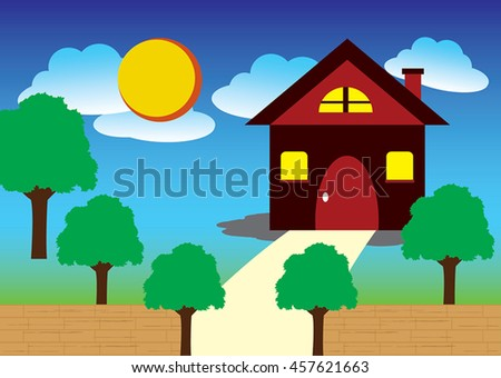 Vector of modern house for happy family design