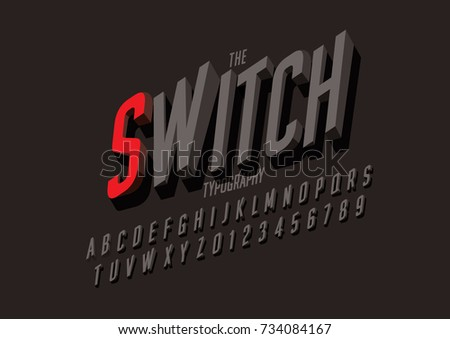 Vector of modern switch font and alphabet